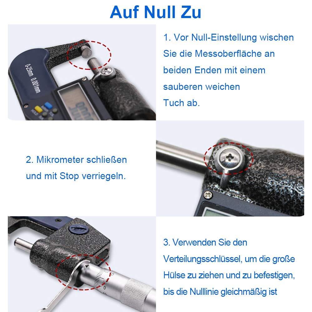Digitale B/ügelmessschrauben 0-25 mm Hohe Pr/äzision LCD Digitale Mikrometer,0.001 mm Elektronischer Mikrometer Zoll//Metrische Messung