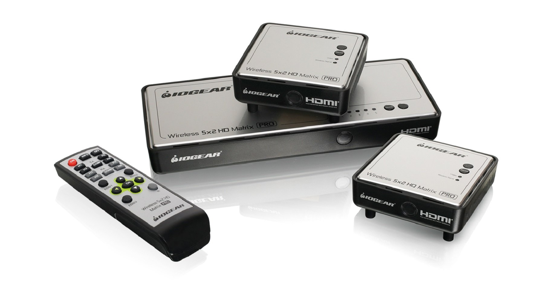 IOGEAR Long Range Wireless 5x2 HDMI Matrix PRO with 1 Additional Receiver, GWHDMS52MBK2