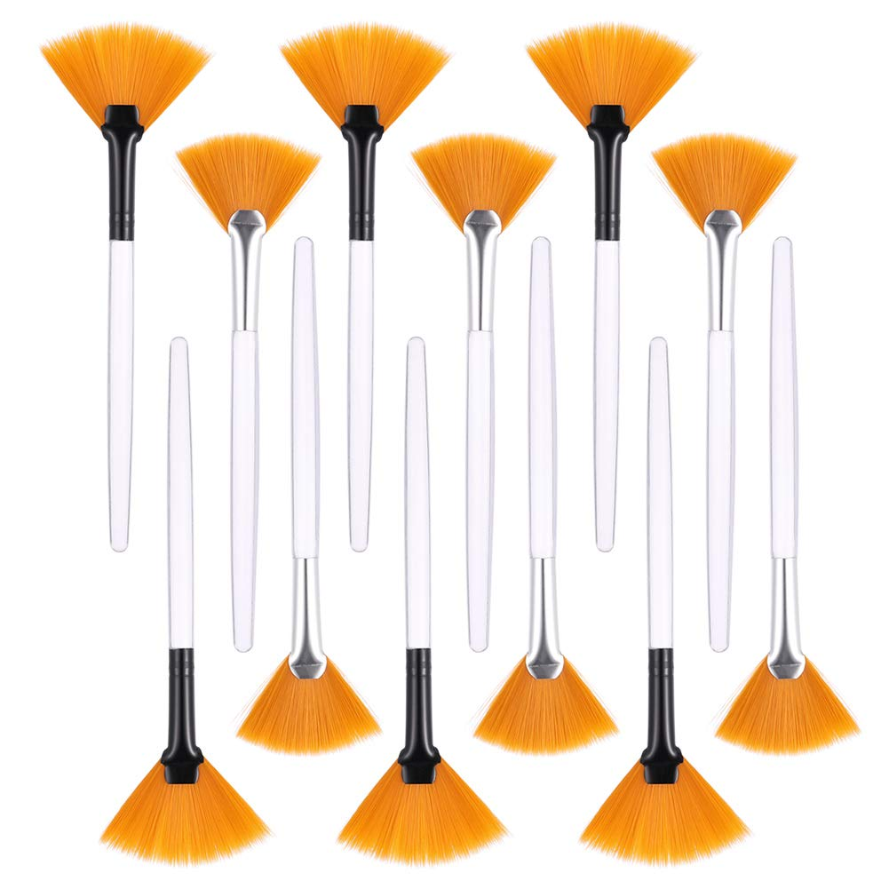 CEREALY 12 Pack Fan Soft Brushes Facial Brushes Makeup Beauty Fan Brush Acid Applicator for Glycolic Peel Masques