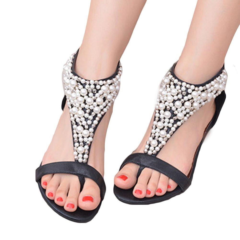 ddecc90c192522 EMVANV Sommer Zehenouml ffnung Strass Reiszlig verschluss Frau Perlen Keile  Sandalen Flip Flops Elegante Plattform Schuhe Casual Frauen Schuhe