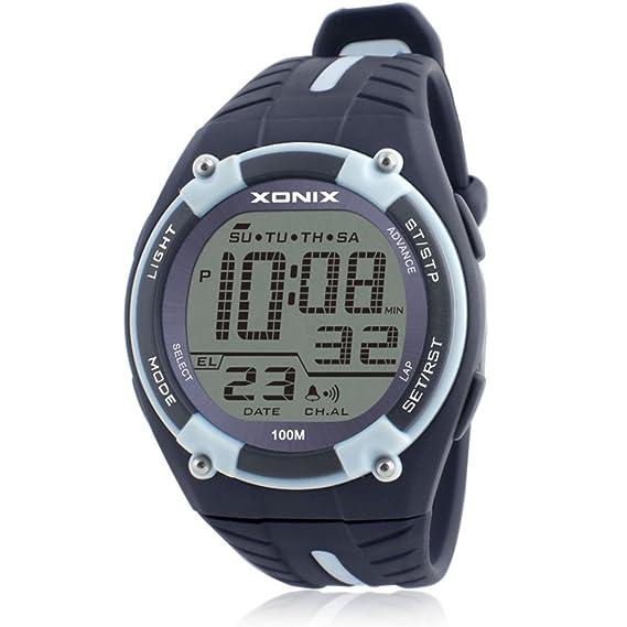 HombresS reloj de movimiento al aire libre nadar impermeable números grandes reloj electrónico-G