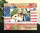 American America Americana 4th of July Family Daisy Flowers Flag Red White and Blue Handmade Magnetic Picture Photo Frame 5 x 7 and 9 x 11