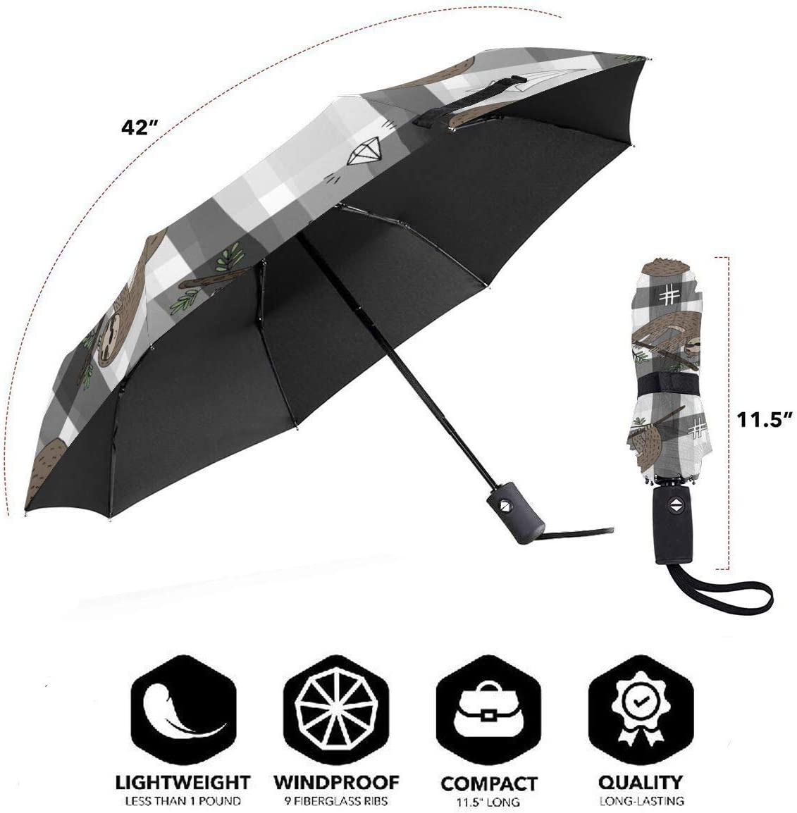 Cute Doodle Sloth Automatic Tri-fold Umbrella Classic Windproof Anti UV Rain//Sun Travel Umbrella Light Weight.
