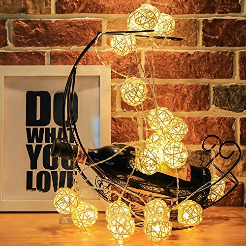 Globe Rattan Ball String Lights, Goodia 13.8feet 40 LED Warm White Fairy Light for Indoor,Bedroom,Curtain,Patio,Lawn,Landscape,Fairy Garden,Home,Wedding,Holiday,Christmas Tree,Party by Goodia (Image #2)