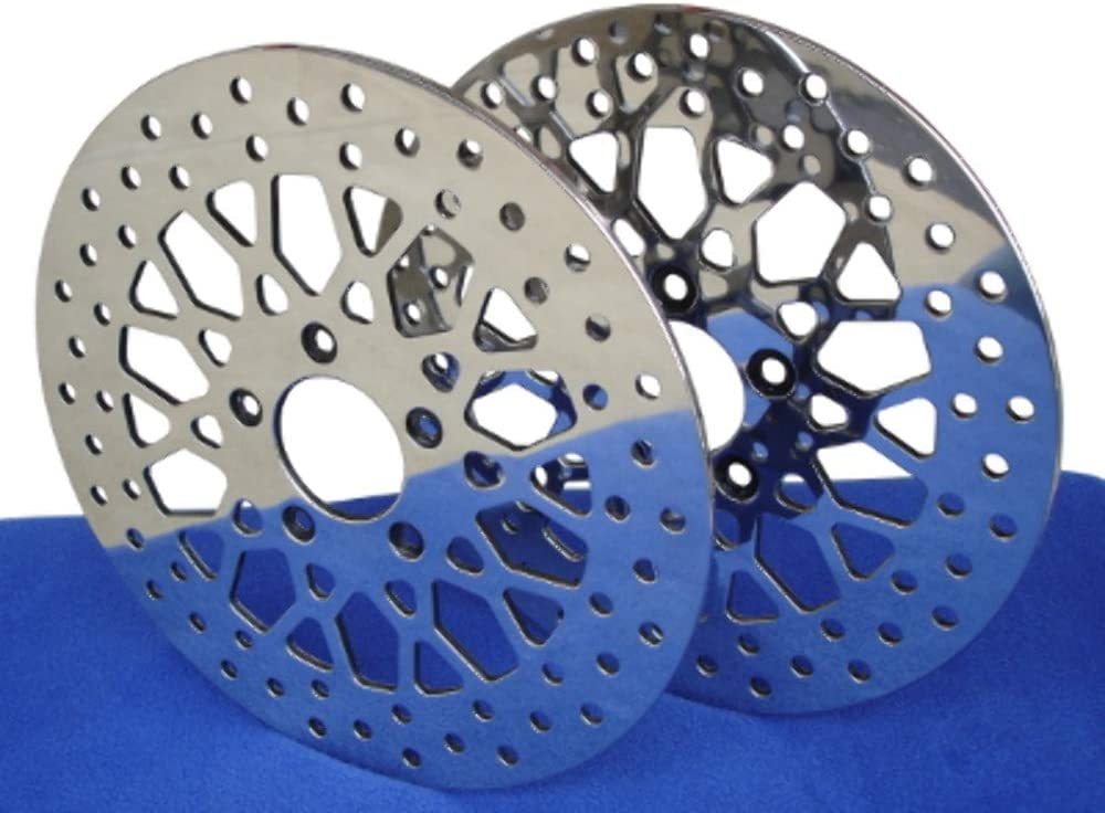 MESH POLISHED STAINLESS STEEL DISC BRAKE ROTOR FRONT