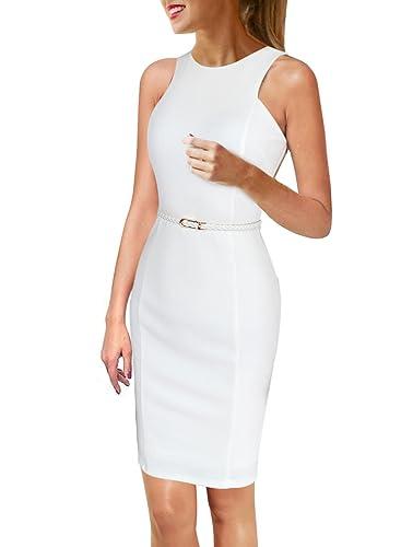 Vfemage Womens Elegant Sleeveless Wear To Work Slim Bodycon Dress