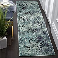 Safavieh Monaco Collection MNC225J Modern Abstract Watercolor Light Blue and Multi Distressed Runner (2'2' x 8')