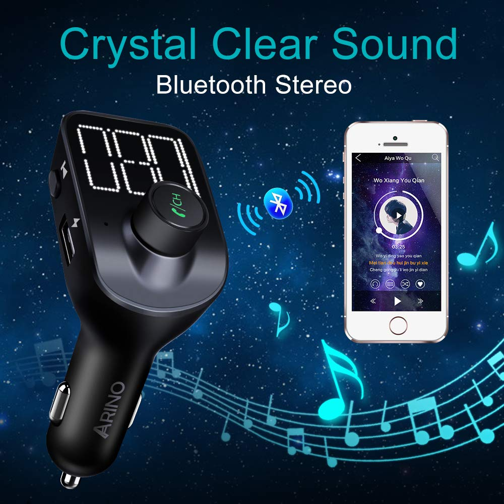 FM Transmitter, Bluetooth FM Transmitter Car Radio Adapter MP3 Player Wireless Car Charger Bluetooth 5.0 with Dual USB Ports, TF Card Slot, Hands-free Car Kits For iPhone, Android and Most Devices