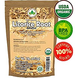 Licorice Root Tea 1LB (16Oz) 100% Certified Organic Licorice Root Cut and Sifted (Glycyrrhiza glabra), in 1 lbs. Bulk Resealable Kraft BPA Free Bags from U.S. Wellness Naturals