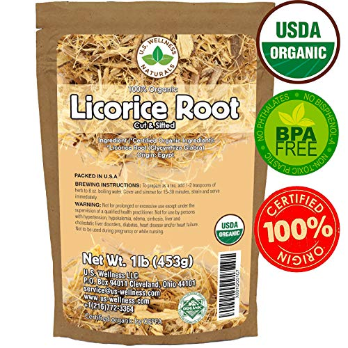 Licorice Root Tea 1LB (16Oz) 100% Certified Organic Licorice Root Cut and Sifted (Glycyrrhiza glabra), in 1 lbs. Bulk Resealable Kraft BPA Free Bags from U.S. Wellness Naturals ()