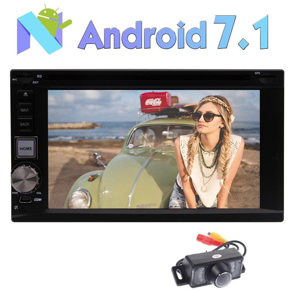 バックミラーカメラ含める!GPSナビのBluetoothラジオHDタッチスクリーンのサポートマルチOS言語のUSB SD FM RAM RDS無線LAN 4G / 3GとのAndroid 7.1カーDVDプレーヤーオクタコア2G RAMステレオシステムを B0778D1FJL