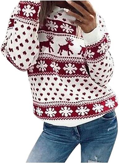 Pull Femme Imprimé de Noël, Motif élan Flocon de Neige, Col Rond Manches Longues épais Sweat Shirt Chaud Pull Rouge Dylung