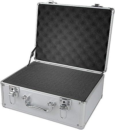 Caja de herramientas for el almacenamiento de herramientas o manualidades, caja de herramientas de aluminio-negro tira de espuma Estuche Maletín caja de herramientas caja de herramientas portátil: Amazon.es: Hogar