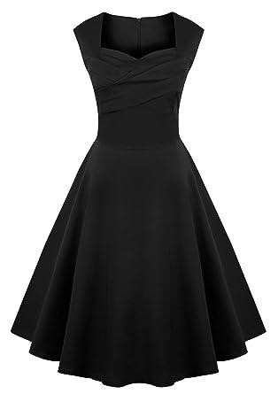 VOGUEMAX Womens Vintage Tea Cap Sleeve Audrey Hepburn Swing Dresses