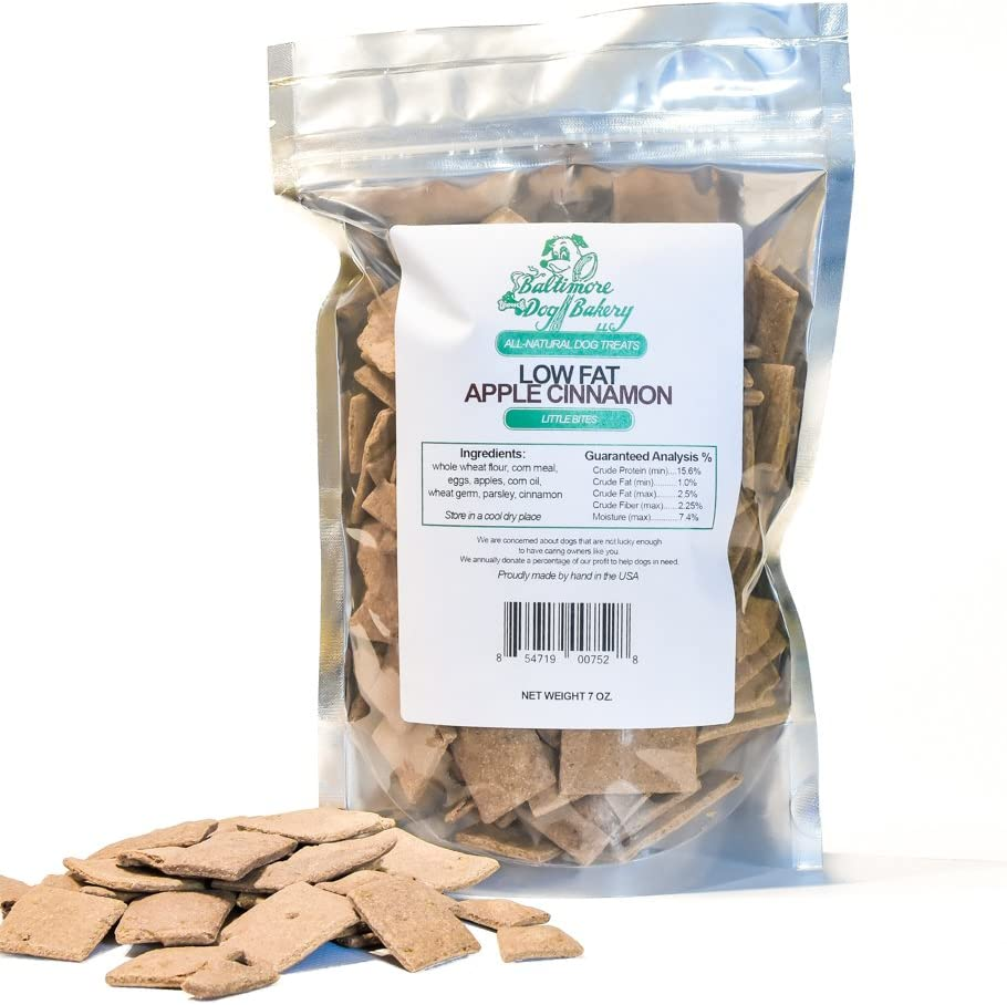 Baltimore Dog Bakery – Apple Cinnamon Low Fat All-Natural Dog Treats, 7oz Resealable Bag, Healthy Dog Training Treats, Dog Biscuits, Healthy Dog Cookies, Hand Made in The USA
