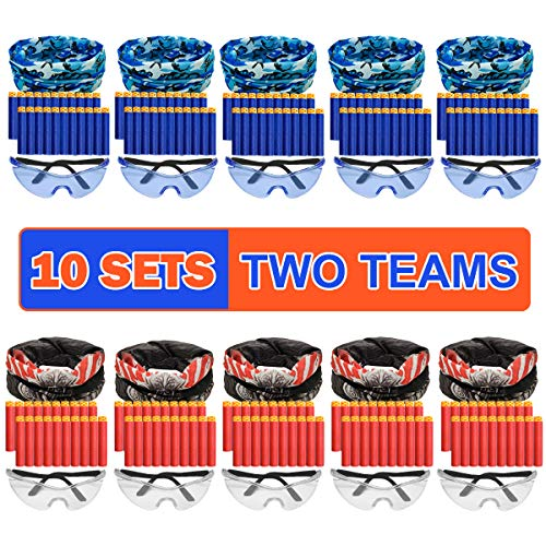 Banvih Nerf Party Supplies Compatible Included Face Mask Tactical Glasses 20 Foam Bullets for Two Teams Durable Birthday Party War Favors Guns Accessories for Kids (10 Sets)