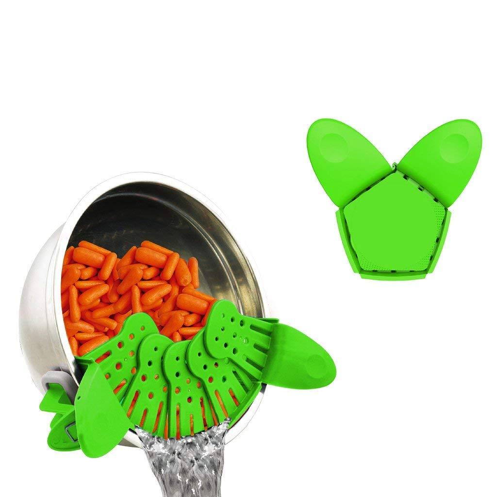 etc. Verde Ogquaton 1 Pcs Silicon Pot Bowl Clip colador Colador Plegable Creative Noodle Filter para Pasta Frutas Verduras