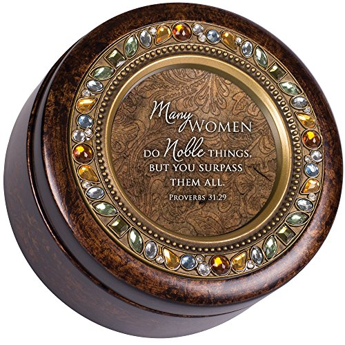 Cottage Garden Women Do Noble Things Amber Earth Tone Jewelry Music Box Plays How Great Thou Art