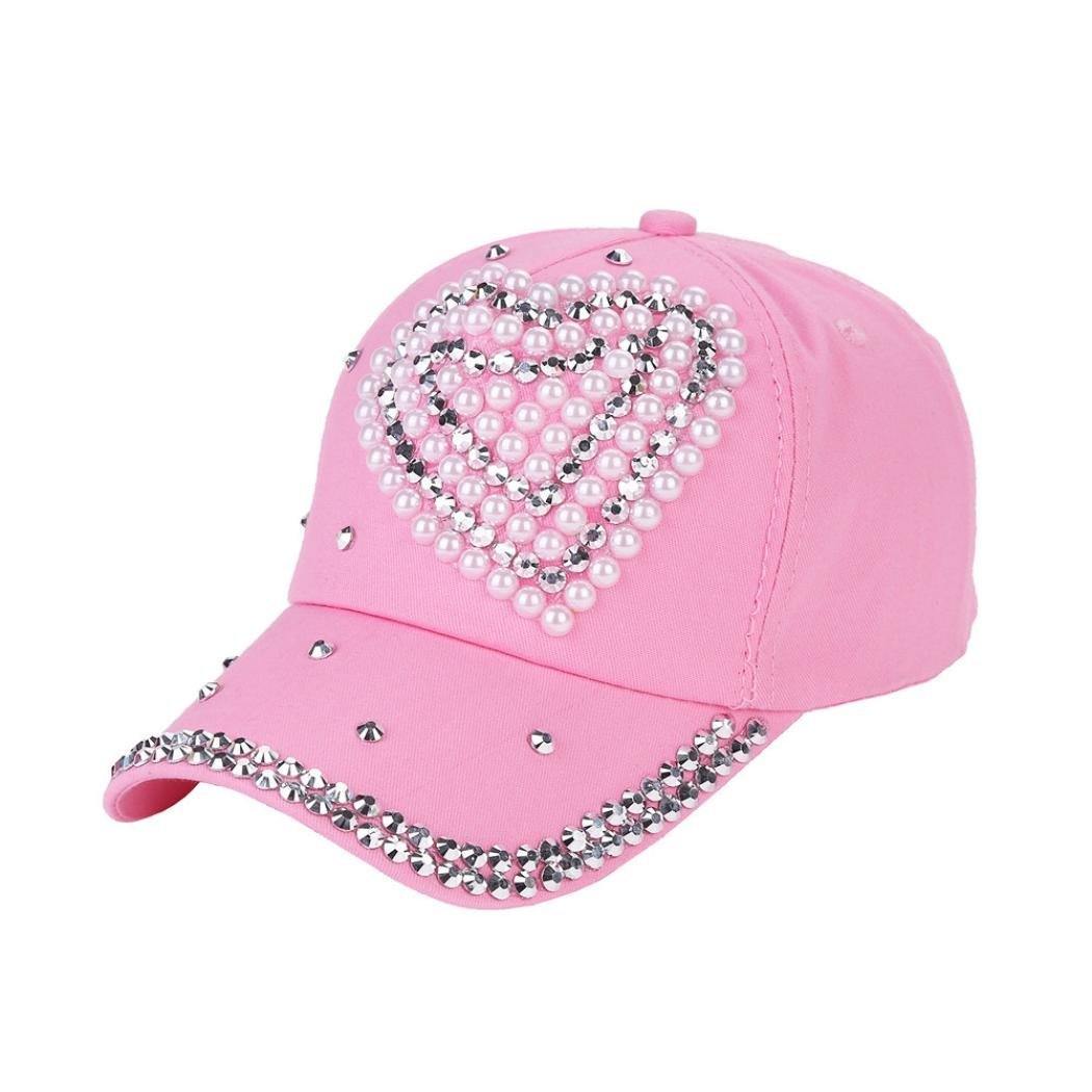 Baseball Cap Rhinestone Love Shaped Boy Girls Snapback Hat Hot Pink
