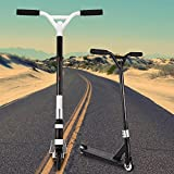 Adults Teens Folding Kick Scooter T Style Handle Bar, Aluminum Alloy Wheels Height Adjustable Stunt Scooters, Best Gifts for Kids Boys Girls Above 7 Years Old (White, Type 2)