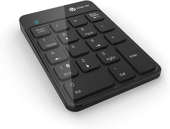 iClever – 18-key teclado numérico inalámbrico Bluetooth teclado numérico para portátiles, PC, Macbook, Negro