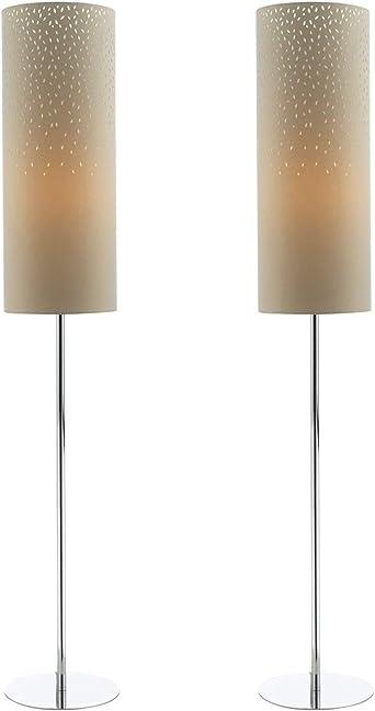 Pair Of Modern Floor Light Standing Lamps Chrome With Mocha Fabric Shades Amazon Co Uk Lighting
