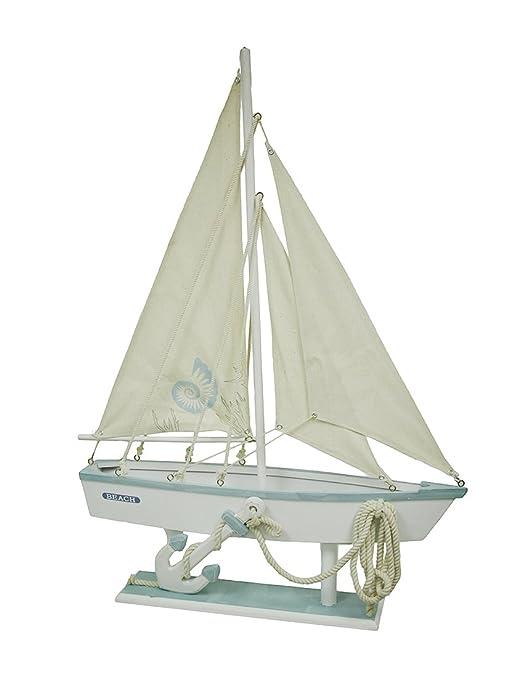 Sail Away tamaño grande azul y blanco de madera de mesa barco ...