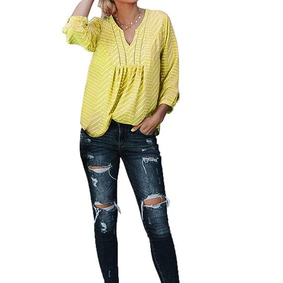 Moda Femenina Camisa ahuecada Blusa Estampada con Cuello en v Tops de Manga Tres Cuartos ❤ Manadlian: Amazon.es: Ropa y accesorios