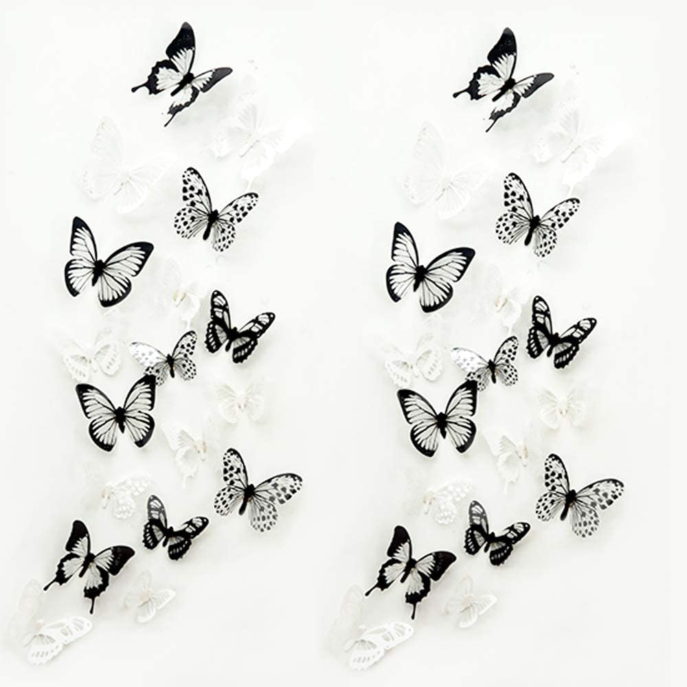 72 Pcs 3D Crystal Butterfly Wall Decor with Adhesive,maxin Butterflies Wall Decal Mural Stickers Wall Stickers Home DIY Decor for Baby Kids Bedroom, Living Room(Black and White)