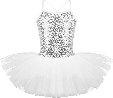 dPois Maillot de Ballet Niña Tutú Algodón Vestido Lentejuelas ...