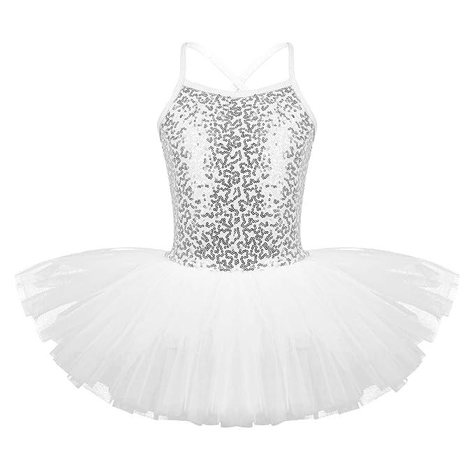 ranrann Vestido Tutú de Danza Ballet para Niña Lentejuelas Maillot ...