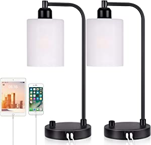 Industrial Bedside Table Lamp Set of 2 - Yarra Decor Fully Dimmable Lamps for Bedroom Modern USB Nightstand Lamp Set with Glass Shade Reading Table Lamps for Living Room, Kids Room (LED Bulb Included)