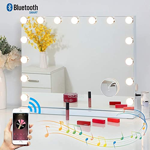 Fenair Makeup Mirror with Lights and Bluetooth Speaker Support Answer Call Hollywood Vanity Mirror, Touch Screen, 3 Color Modes Frameless Tabletop Mirror with 15 Dimmable Bulbs White