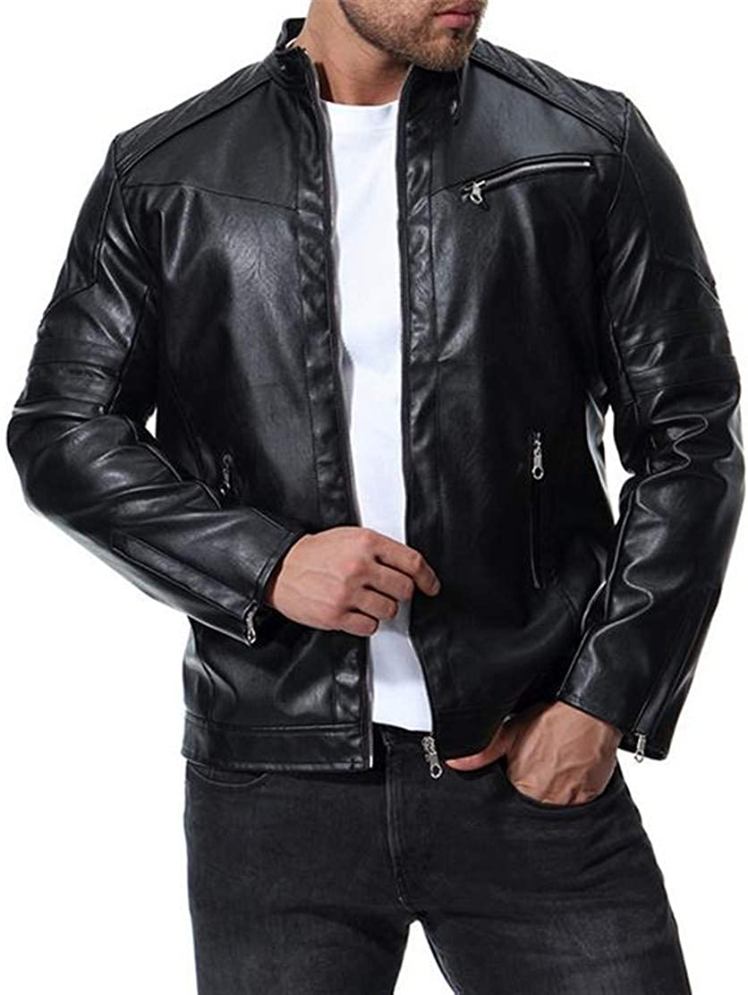 P/&E Mens Bomber Zipper Stand Collar Slim Fit Moto Faux Leather Jacket Coat
