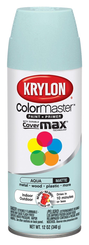 Krylon Colormaster Indoor/Outdoor Aerosol Paint, 12 oz, Aqua