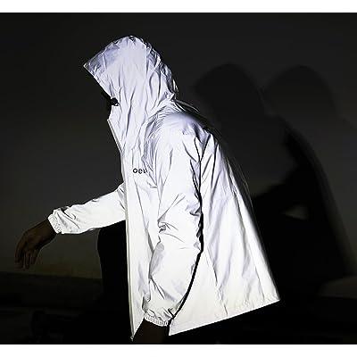 fangfei Reflective Coat Hooded Windbreaker Fashion Runing Jacket(UP): Sports & Outdoors