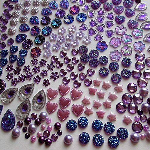 400 Pcs of Assorted Purple Pearl Finish, Iridescent Flat Back Tear Drop Beads Cabochons Assorted Sizes 4mm-18mm Flat Teardrop Beads