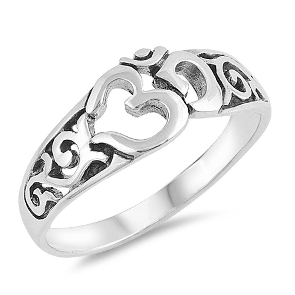 Filigree Om Aum Ohm Meditation Yoga Ring New 925 Sterling Silver Band Size 10