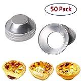 MBODM 50 Pack Egg Tart Molds Mould Mini Tiny Pie