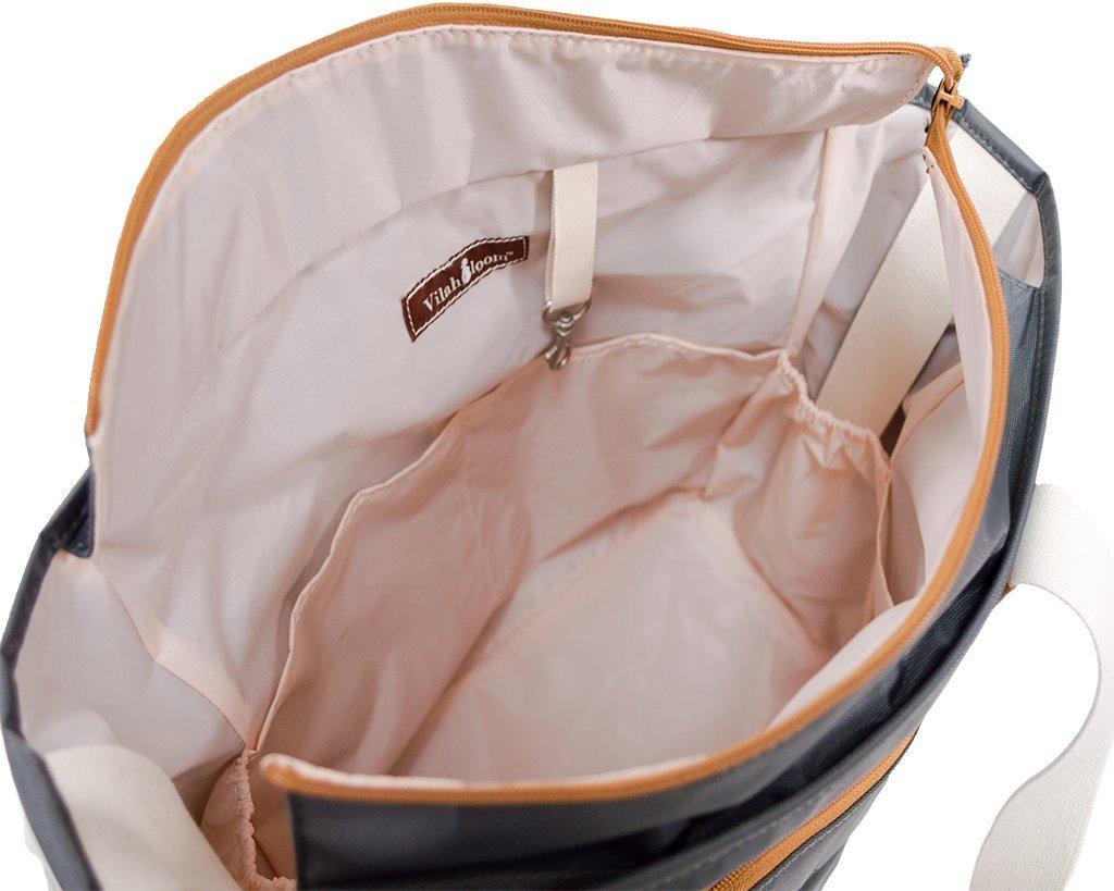 Amazon.com : vilah bloom harbor side tote diaper bag, hampton grey ...