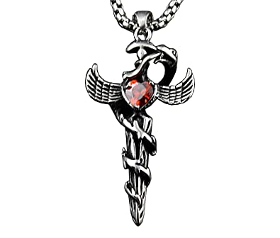 Medical Symbol Caduceus Pendant Necklace Snakes Sword Doctor Mens