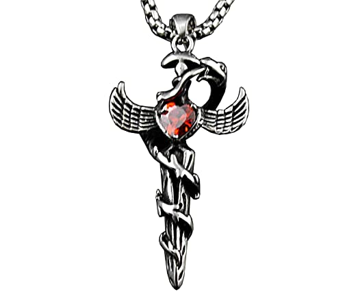 Medical symbol caduceus pendant necklace snakes sword doctor mens medical symbol caduceus pendant necklace snakes sword doctor mens jewelry xk2 mozeypictures Image collections