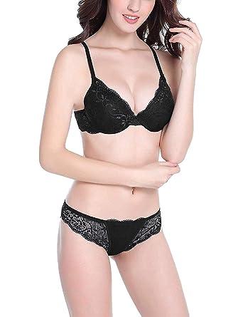 Sexy Push up Bras Set Transparent Underwear Lingerie Lace Bra   Matching Panty  for Women( 311b2c596