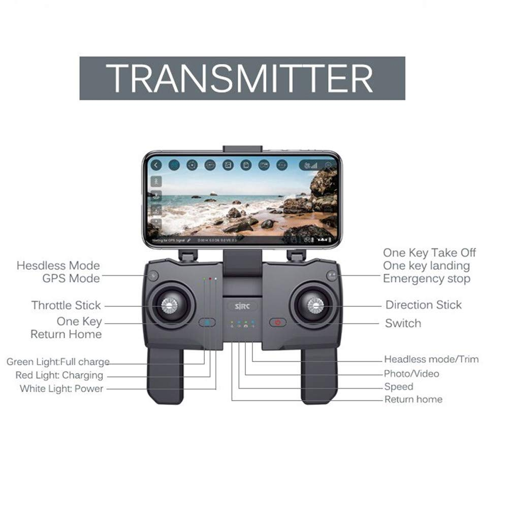 Sonmer SJRC Z5 WIFI FPV HD Camera Live View Selfie Drone, With Headless Mode 360° Flip GPS Fixed Height Follow Me Active Track Auto Home Hand Gesture Function by Sonmer (Image #8)