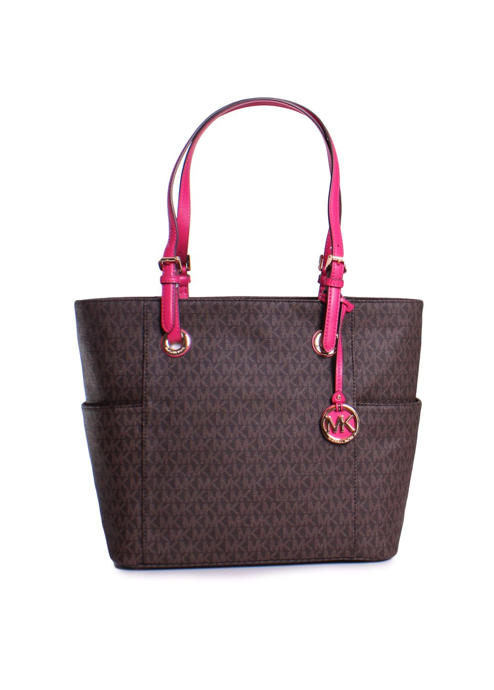 MICHAEL Michael Kors Large Jet Set Signature Tote, Brown/Ultra Pink