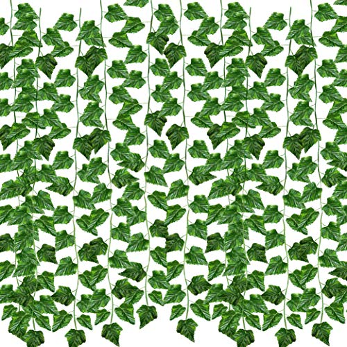 See Greeen 105 feet (12 Pack) Artificial Garlands for Baby Shower, Birthday, Classroom, Table Runner and Safari Jungle Theme Party ()