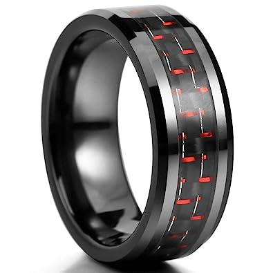 Aooaz Ceramic Carbon Ringe Fur Herren 8mm Poliert Hochzeit Ringe