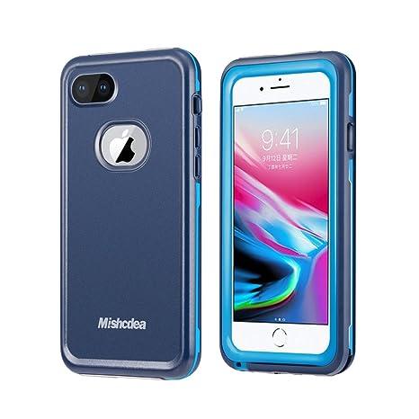 Mishcdea Funda iPhone 7/8 Impermeable, Carcasas IP68 Waterproof para iPhone 7/8 con Protector de Pantalla Incorporado (Azul