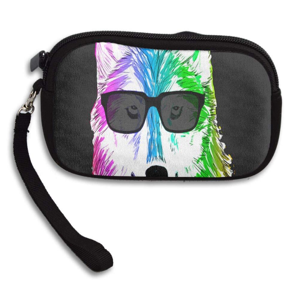 Cool Rainbow Wolf Custom Zip Handbag Coin Purse Change Cash Wallet