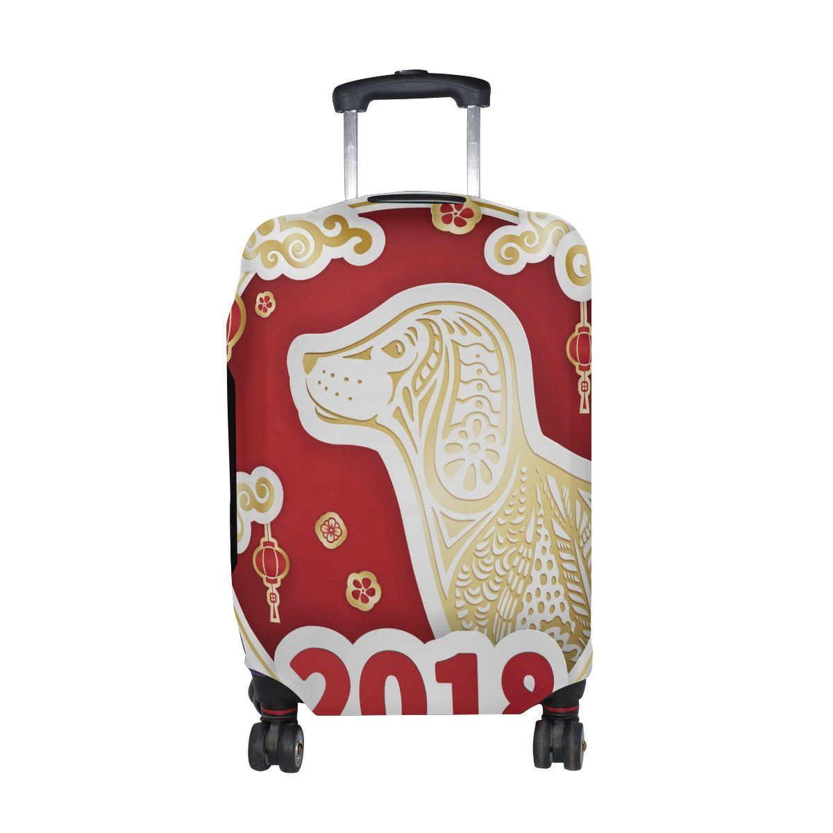 Happy Chinese New Year 2018 Of The Dog Travel Luggage Protector Baggage Suitcase Cover Fits 22-24 Inch Luggage